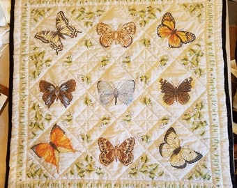 "Cross Stitched/Embroidered ""Butterfly"" Heirloom Lap Size Quilt (44inx44in)"