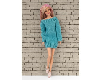 Hand-knitted pullover/dress for Barbie and Poppy Parker. 14 colors to choose.