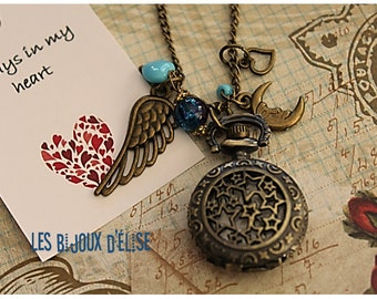 Distance Relation Watch Star Pocket Watch Pendant Necklace Little Angel Victorian Style Bronze Antique