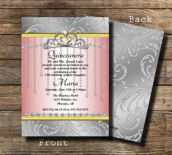 Princess Crown Invitation Quinceanera Invitation Bling Invite