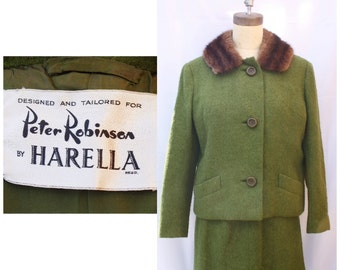 1950s Fur Collared Green Wool Power Suit