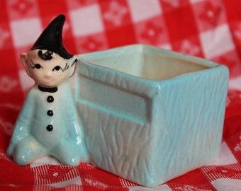 Adorable Vintage Pixie / Elf Trinket Box / Planter