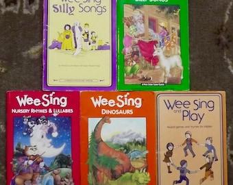 5 Wee Sing books Wee Sing Dinosaurs, Wee Sing Nursery Rhymes & Lullabies