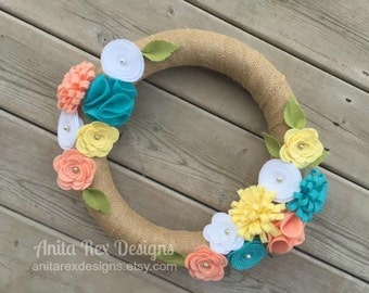 Spring Wreath, Easter Wreath, Spring Felt Flower Wreath, Spring Burlap Wreath, Yellow, Coral, Aqua Felt Flower Wreath, Spring Decor