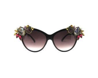 Women's Black Cat-eye Handmade Statement Sunglasses -  GOULIMINE
