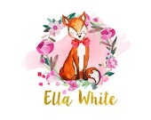 Custom logo design, fox logo, cute logo, logo design fox, business logo design, flowers fox logo, fox and flowers logo, wreath logo fox