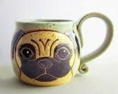 Pug Mug Pottery, great birthday gift, ceramic mug, handmade pug dog, pug art,animal art, dog mug, holds 13 oz, microwave and dishwasher safe