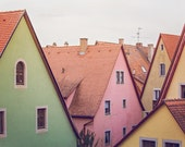 Germany photography, rothenburg photograph, european architecture, fine art photography, travel home decor, travel photography, mint, pink