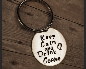 Keep calm and drink coffee keychain. Perfect gift for the coffee lover in your life.