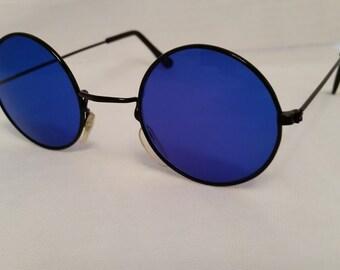 Vintage Round Blue Lenses Lennon style Sunglasses Black -Tone/ John Lennon Groovy Blue Round Sunglasses