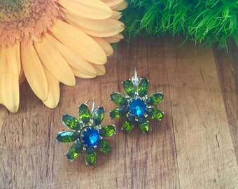 1950s Green and Blue Rhinestone Leverback Earrings