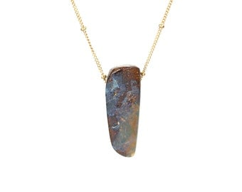 Boulder opal necklace - natural opal - fire opal - australian opal - an australian boulder opal hanging from 14k gold filled satellite chain