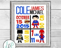 Superhero Baby Birth Stats Print, Custom Superhero Nursery decor, Avengers Baby Print, Superhero birth annoucement, Nursery Birth Stat Print