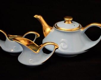 Vintage Pearl China Co Aladdin Teapot Cream and Sugar Bowl 22 KT Gold Trim Blue Tea Set, Blue Teapot Cream and Sugar Bridal Tea Party
