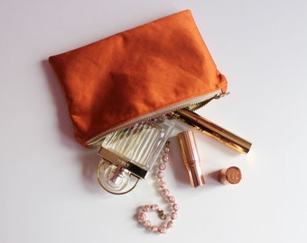 Burnt Orange Satin Cosmetic Bag, Travel Makeup Bag,