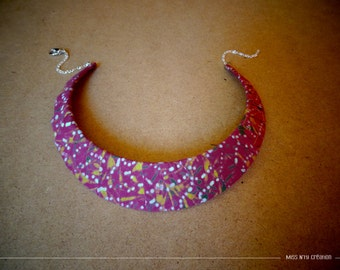 Bib Necklace fabrics Indonesia - Batik - pink tones