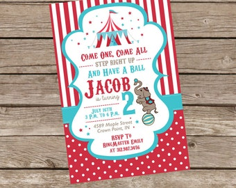 Circus Themed Birthday Invitation