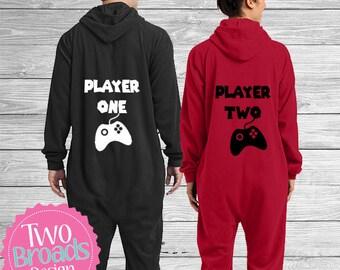 Player one and Player two Gamer Pjs Bride and Groom Pajamas, Footie Pajamas, Pjs, Husband and Wife Pajamas