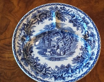 Flow Blue Booths Grill Plate - British Scenery Pattern