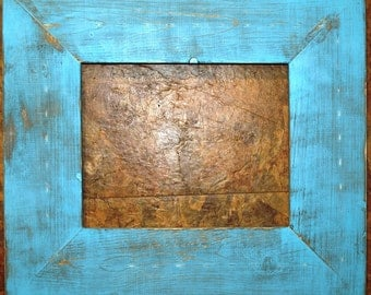 "F002 3-1/2"" Teal Distressed Picture Frame"