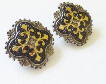 Vintage Damascene Earrings Black Gold Leaf Silver Tone Post Earrings for Pierced Ears Renaissance Revival