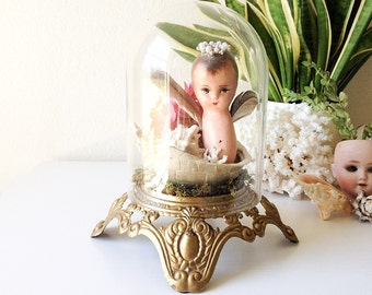 Vintage glass display dome with ornate metal stand lamp base glass cloche curiosity oddity showcase creepy doll turtle shell specimen
