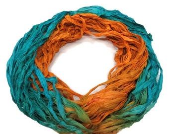 SALE New! Recycled Sari Silk Ribbon, Turquoise/Tangerine