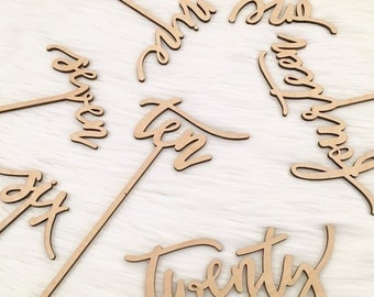 SALE Wood Table Numbers with Sticks, Wedding Wood Numbers, 5 inch sticks, Escort Cards, Table Decoration, Centerpieces, Calligraphy Signs