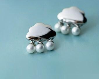Pearl Cloud Rain 925 Sterling Silver Stud Earrings 1058