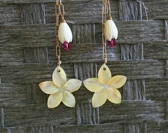 Mother of Pearl Plumeria Earrings