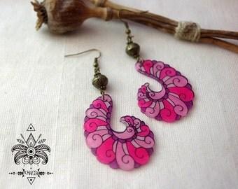 Fluorescent Fractal earrings