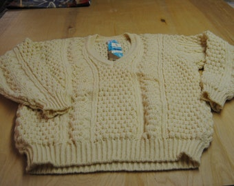 Vintage Wool Mens Fishermans Sweater Size 46/Ivory/Natural/FWB/ON SALE/Pure Irish Wool