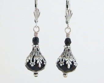 Black Silver Earrings Dangles Jet Black Holiday Jewelry Gift