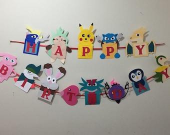 Pokemon birthday, Pokemon party, pokemon banner, pikachu party, Pokemon birthday banner, Pokemon characters