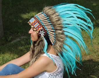 X39 Amazing Turquoise Feather Headdress 42 scrollwork with turquoise yarn.