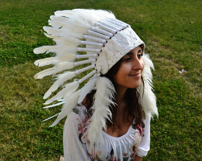 X10 White Feather Headdress ( short size) 23 inch head circumference