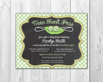 Twin Sweet Pea Baby Shower Invitation |  (8 Invitations and 8 Envelopes)