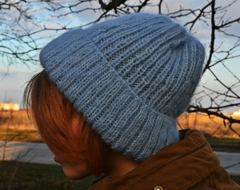 mohair hat, blue fashion hats, mohair beanie, women's fashion hat