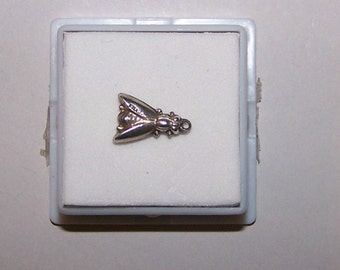 Vintage 1940's PUFFY BEE or Fly Sterling Charm-- Marked Sterling