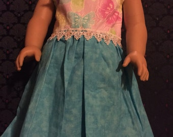 Doll Dress blue with butterflies  fits American girl doll