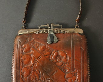 1920s Tooled Leather Purse