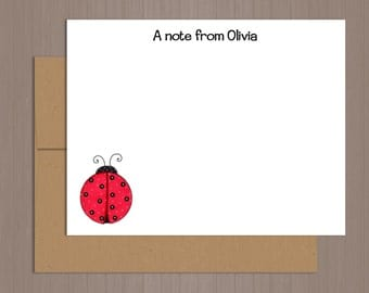 Personalized Note Card Set, Flat Note Cards, Ladybug Note Cards, Personalized Stationery, Personalized Stationary, Thank you Notes, Girls