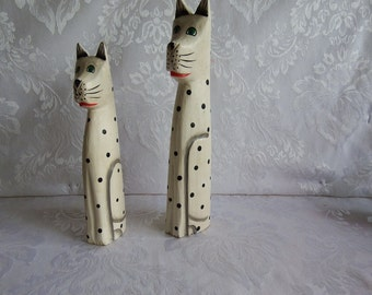 Carved, Wooden Dalmatian, Dog Figurines, Hand Painted, Made in Indonesia