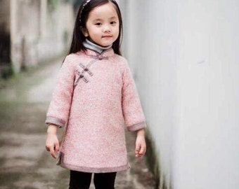 Girl Pink Purple Wool Qi Oao Chinese style dress (also mum's size)