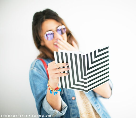 Black and White L Stripe Notebook