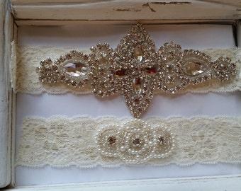 SALE - Wedding Garter Set - Pearl and Rhinestone Garter Set on a Ivory Lace Garter Set  - Style G20078B