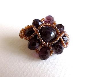 Amethyst Ring, Gemstone Ring, Bead Weaved Ring, Marsala Color Ring, Marsala Ring