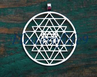 Sri Yantra pendant (1 3/8) - Stainless Steel