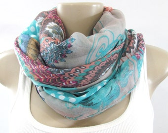 Fashion Scarves - Taupe Turquoise Floral Scarf