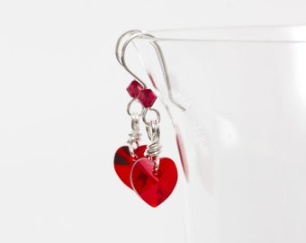 Sterling Silver Dangle Earrings with Red Swarovski® Hearts & Crystals